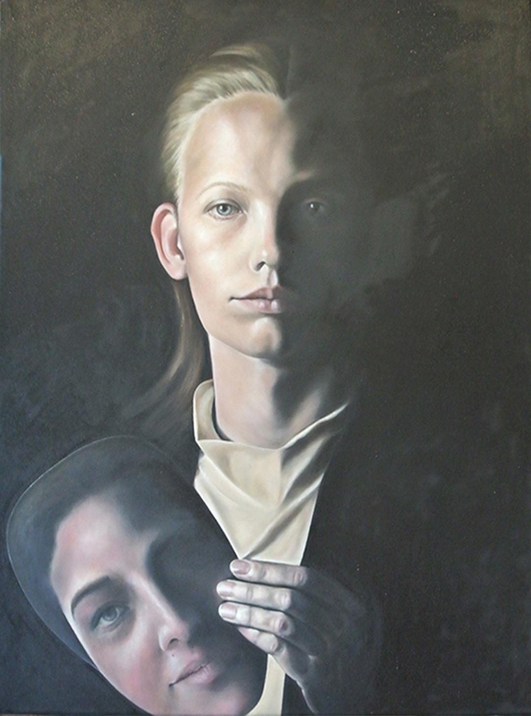 Silke Aurora, bad hair day, oil on canvas, 60 x 60 cm
