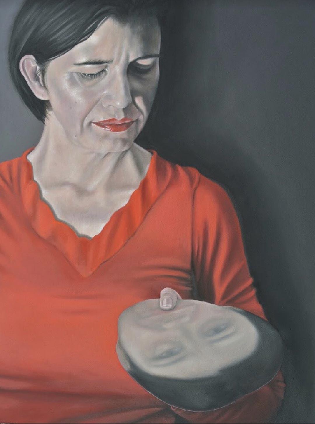 Silke Aurora, dialogue with myself, oil on canvas, 60 x 60 cm