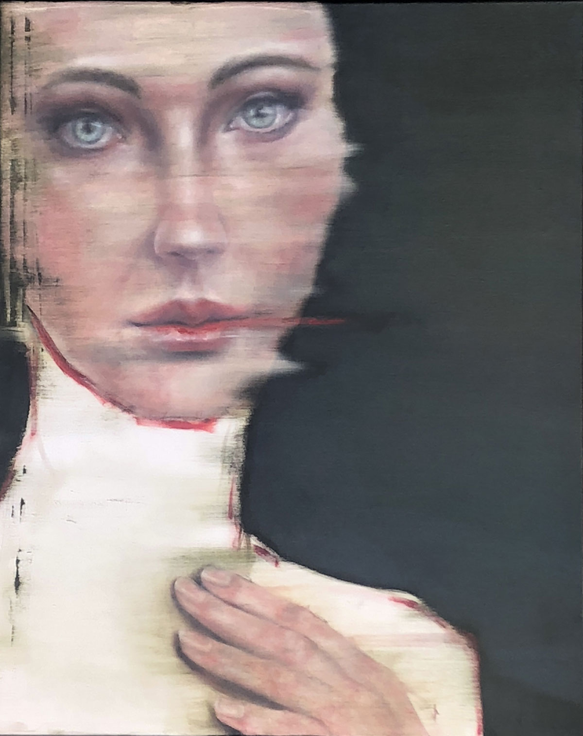 Silke Aurora, Layers of empathy, oil on canvas, 100 x 80 cm